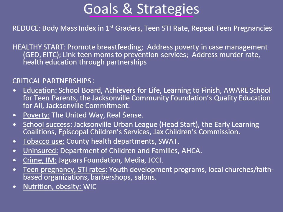 Goals & Strategies REDUCE: Body Mass Index in 1 st Graders, Teen STI Rate, Repeat Teen Pregnancies HEALTHY START: Promote breastfeeding; Address poverty in case management (GED, EITC); Link teen moms to prevention services; Address murder rate, health education through partnerships CRITICAL PARTNERSHIPS : Education: School Board, Achievers for Life, Learning to Finish, AWARE School for Teen Parents, the Jacksonville Community Foundation's Quality Education for All, Jacksonville Commitment.