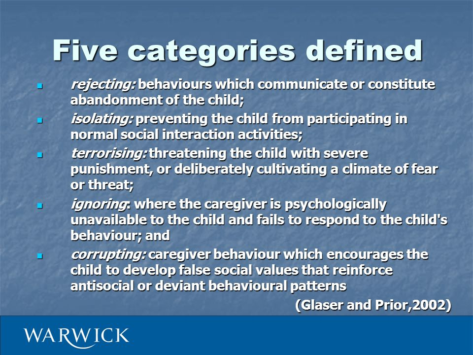 Framework Physical abuse Sexual abuse Emotional abuse Neglect Witnessing IPV Long-term outcomes Prevention before occurrence Prevention of recurrence Prevention of impairment UniversalTargeted