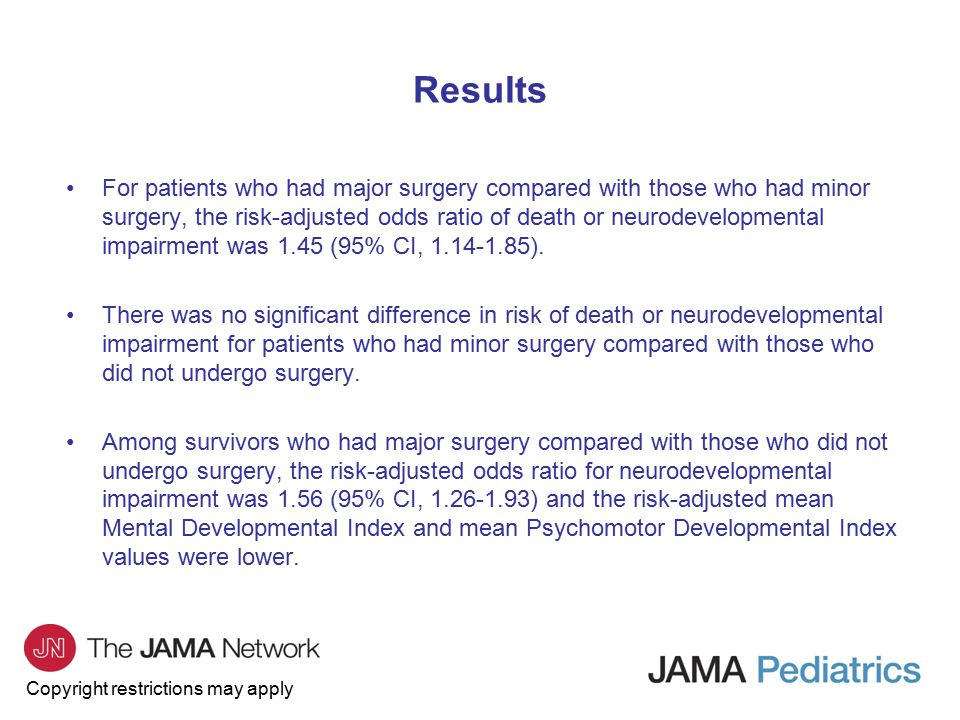 Copyright restrictions may apply Results For patients who had major surgery compared with those who had minor surgery, the risk-adjusted odds ratio of