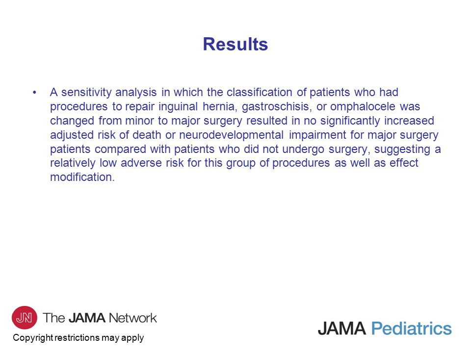 Copyright restrictions may apply Results A sensitivity analysis in which the classification of patients who had procedures to repair inguinal hernia,