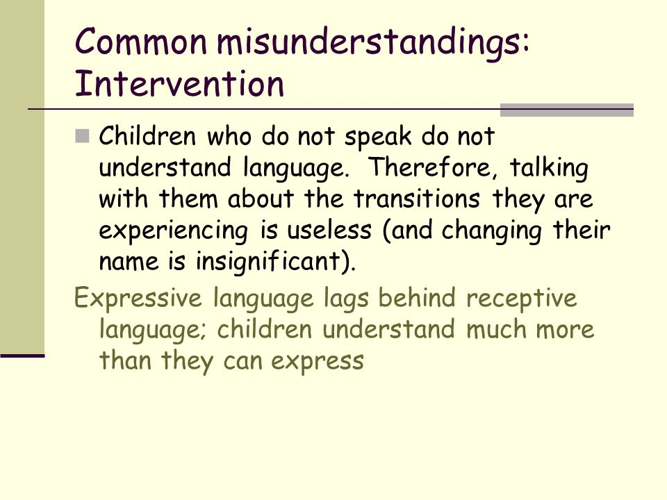 Common misunderstandings: Intervention Children who do not speak do not understand language. Therefore, talking with them about the transitions they a