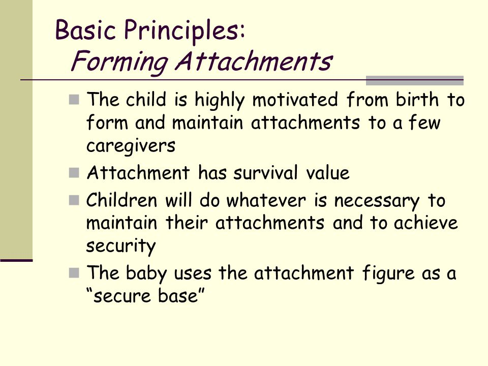 Basic Principles: Forming Attachments The child is highly motivated from birth to form and maintain attachments to a few caregivers Attachment has sur