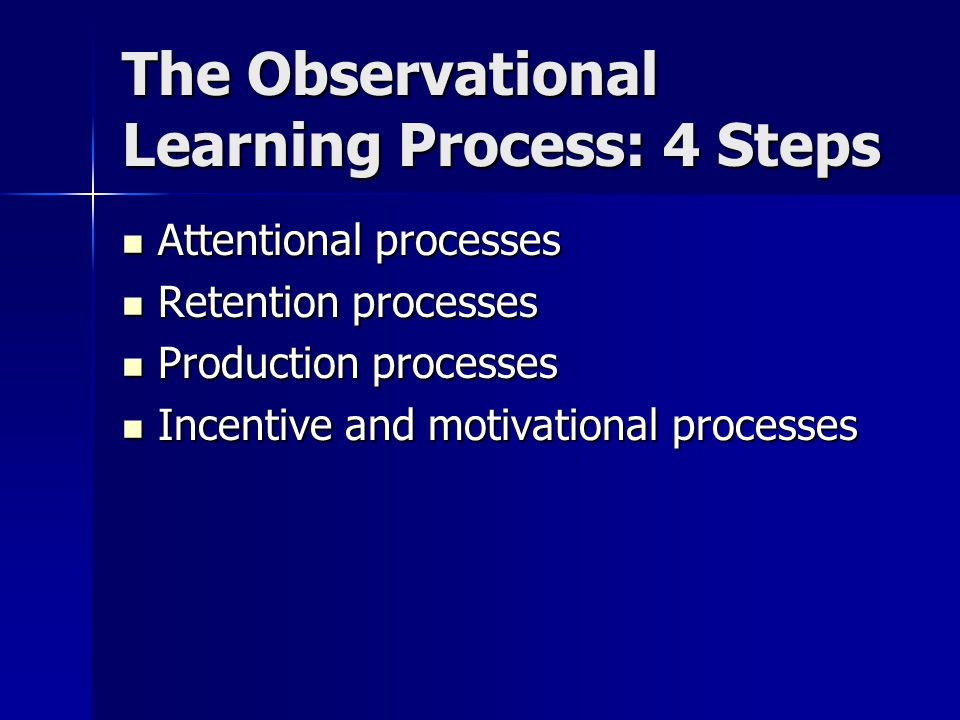The Observational Learning Process: 4 Steps Attentional processes Attentional processes Retention processes Retention processes Production processes P