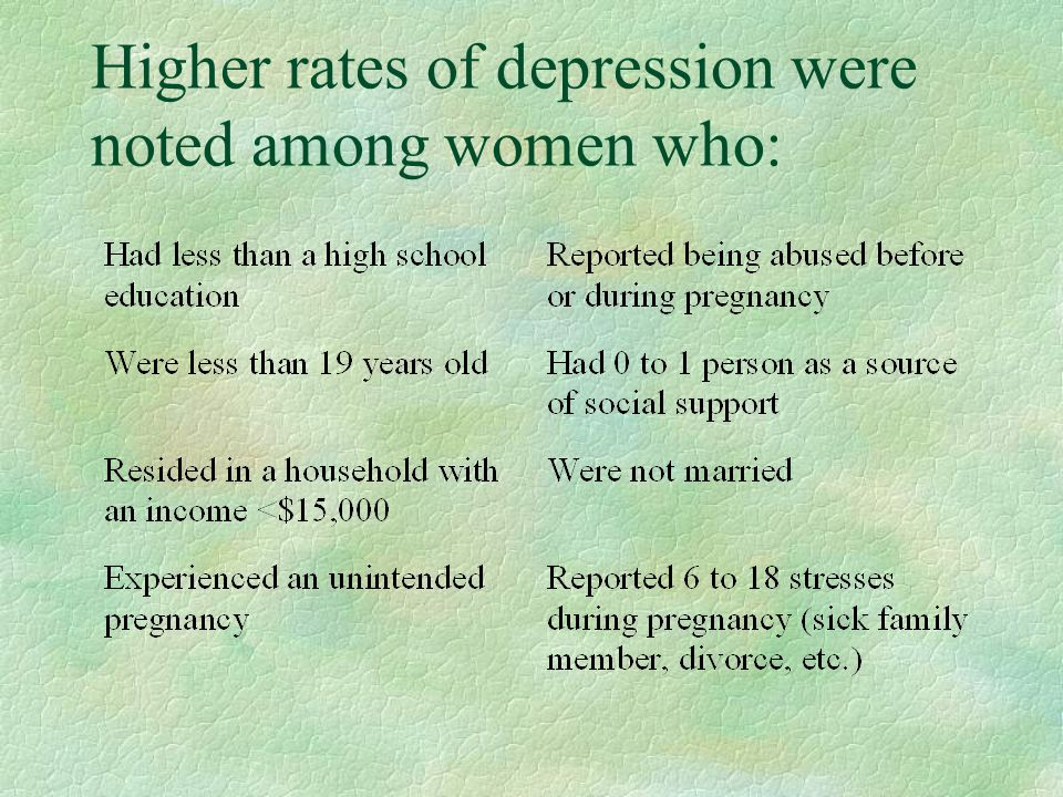Higher rates of depression were noted among women who: