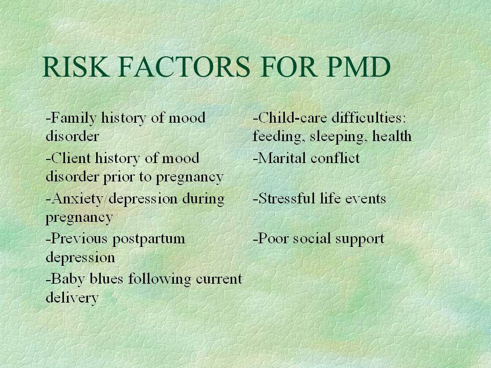 RISK FACTORS FOR PMD