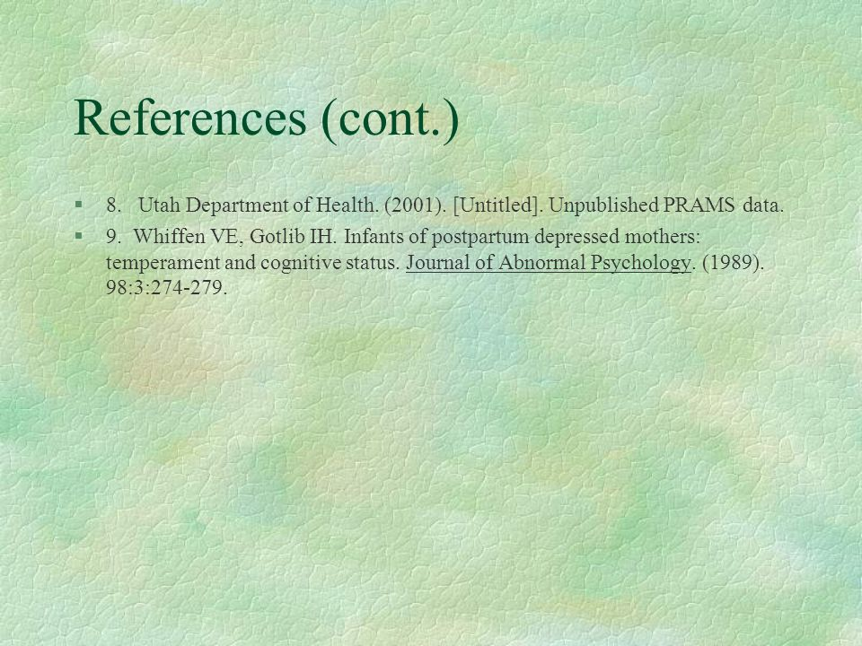 References (cont.) §8. Utah Department of Health.