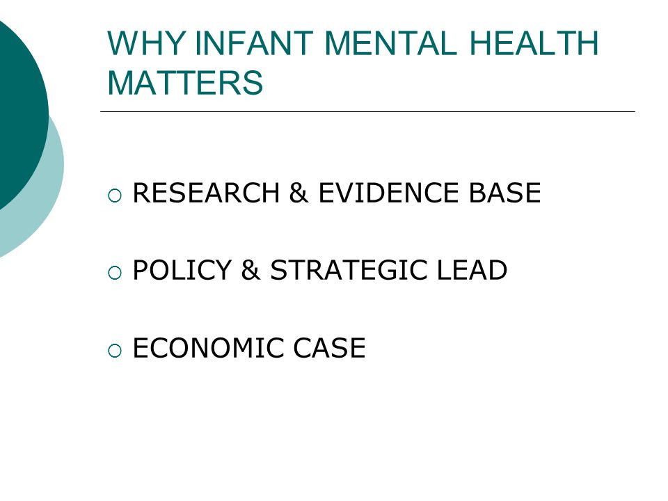 WHY INFANT MENTAL HEALTH MATTERS  RESEARCH & EVIDENCE BASE  POLICY & STRATEGIC LEAD  ECONOMIC CASE