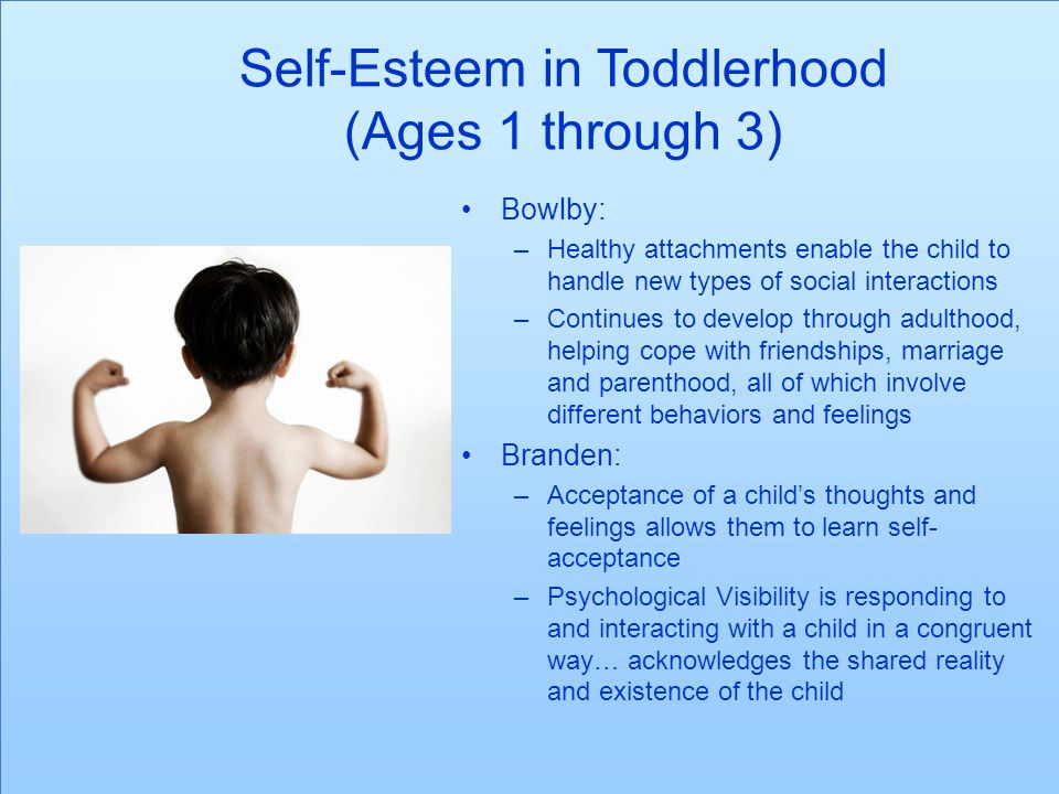 Self-Esteem in Pre-School (Ages 3 through 6) Erikson: –Asserting control and power over the environment.