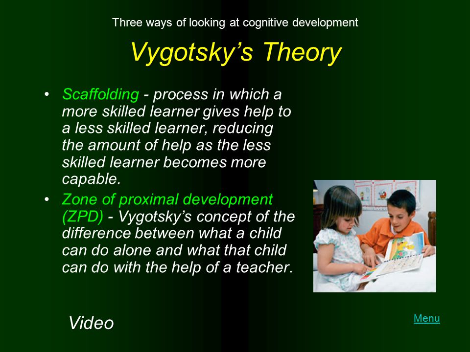Vygotsky's Theory Scaffolding - process in which a more skilled learner gives help to a less skilled learner, reducing the amount of help as the less