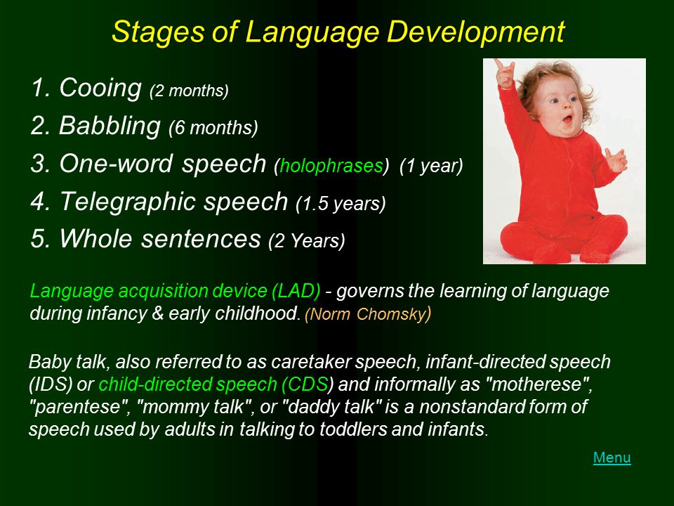Stages of Language Development 1. Cooing (2 months) 2. Babbling (6 months) 3. One-word speech (holophrases) (1 year) 4. Telegraphic speech (1.5 years)
