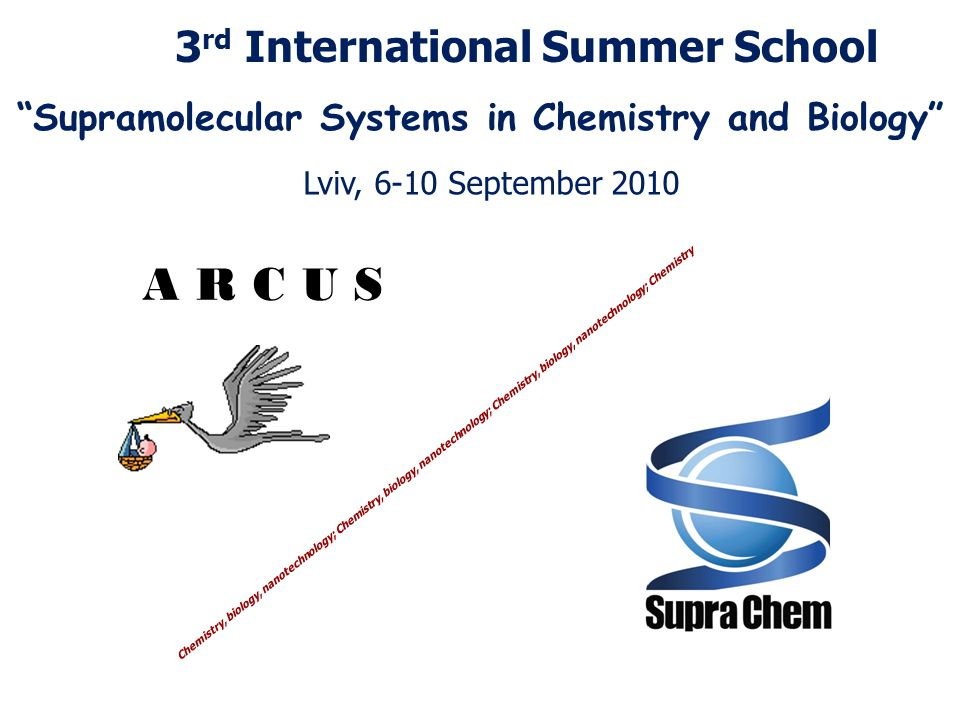 A R C U S Chemistry, biology, nanotechnology; Chemistry, biology, nanotechnology; Chemistry, biology, nanotechnology; Chemistry 3 rd International Summer School Supramolecular Systems in Chemistry and Biology Lviv, 6-10 September 2010