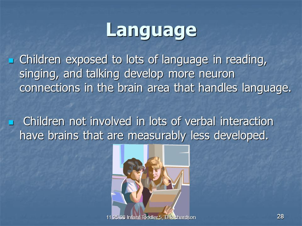 28 Language Children exposed to lots of language in reading, singing, and talking develop more neuron connections in the brain area that handles langu