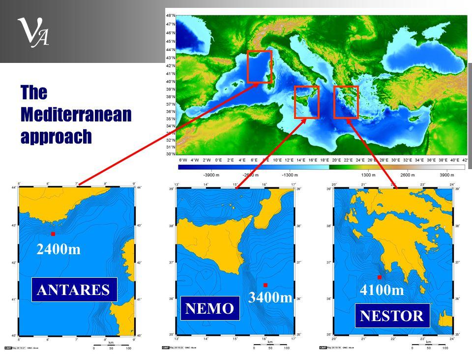 A 4100m 2400m 3400m ANTARES NEMO NESTOR The Mediterranean approach