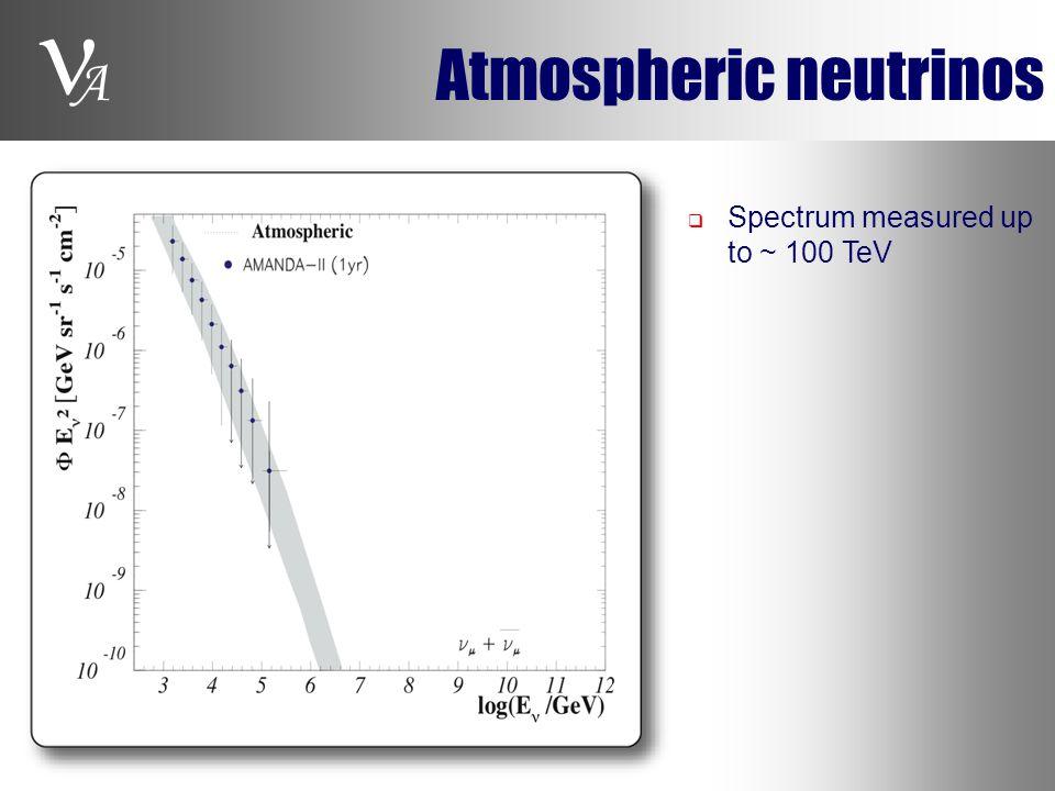 A Atmospheric neutrinos  Spectrum measured up to ~ 100 TeV
