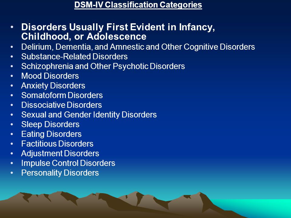 DSM-IV Classification Categories Disorders Usually First Evident in Infancy, Childhood, or Adolescence Delirium, Dementia, and Amnestic and Other Cogn