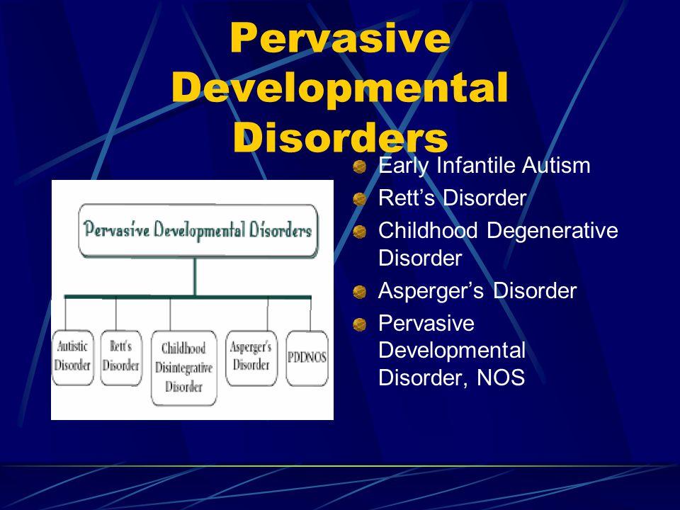Pervasive Developmental Disorders Early Infantile Autism Rett's Disorder Childhood Degenerative Disorder Asperger's Disorder Pervasive Developmental Disorder, NOS