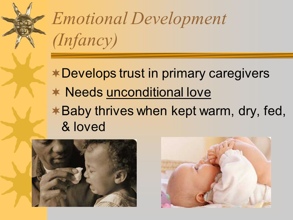 Language Development (Infancy)  Birth- cries to communicate  6 mos.- babbling; imitates sounds  Interrelated with physical (hearing; tongue & mouth muscles; speech center in brain)  Interrelated with social-emotional (relationship with parents/caregivers)  Repeated syllables – single words – run- together words