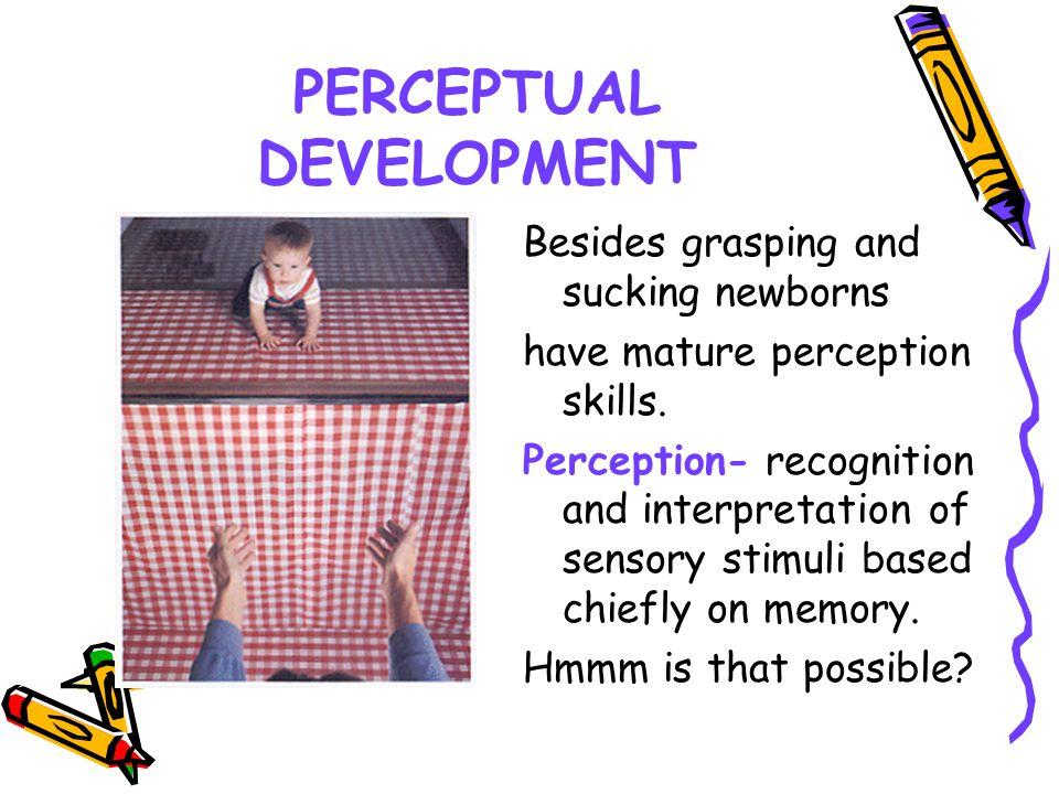 PERCEPTUAL DEVELOPMENT Besides grasping and sucking newborns have mature perception skills. Perception- recognition and interpretation of sensory stim