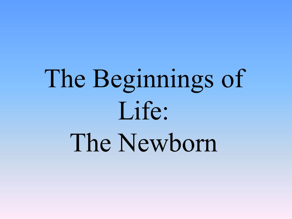 The Beginnings of Life: The Newborn