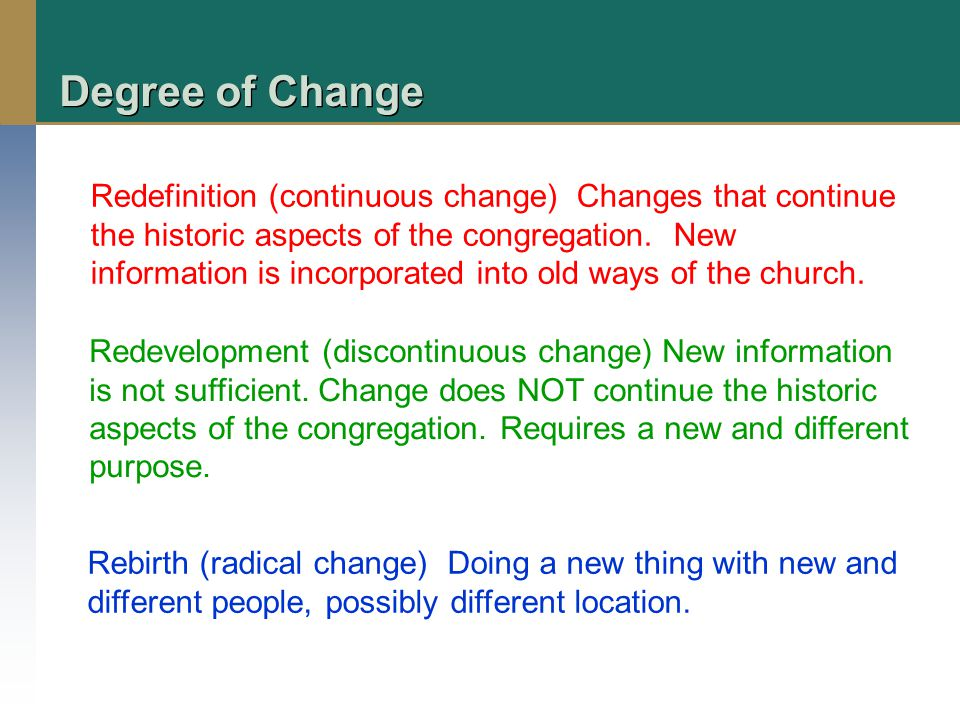 Degree of Change Redefinition (continuous change) Changes that continue the historic aspects of the congregation.