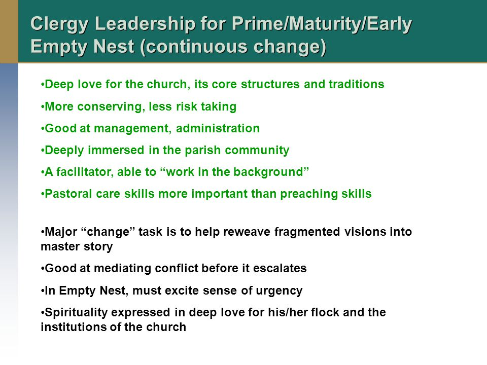 Clergy Leadership for Prime/Maturity/Early Empty Nest (continuous change) Deep love for the church, its core structures and traditions More conserving, less risk taking Good at management, administration Deeply immersed in the parish community A facilitator, able to work in the background Pastoral care skills more important than preaching skills Major change task is to help reweave fragmented visions into master story Good at mediating conflict before it escalates In Empty Nest, must excite sense of urgency Spirituality expressed in deep love for his/her flock and the institutions of the church