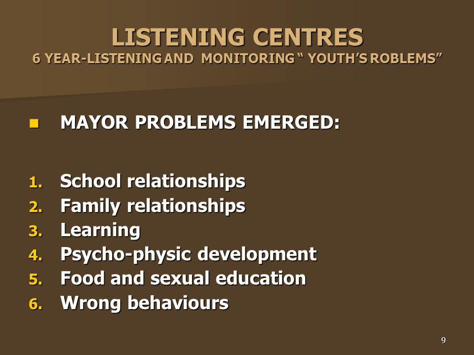 9 LISTENING CENTRES 6 YEAR-LISTENING AND MONITORING YOUTH'S ROBLEMS MAYOR PROBLEMS EMERGED: MAYOR PROBLEMS EMERGED: 1.