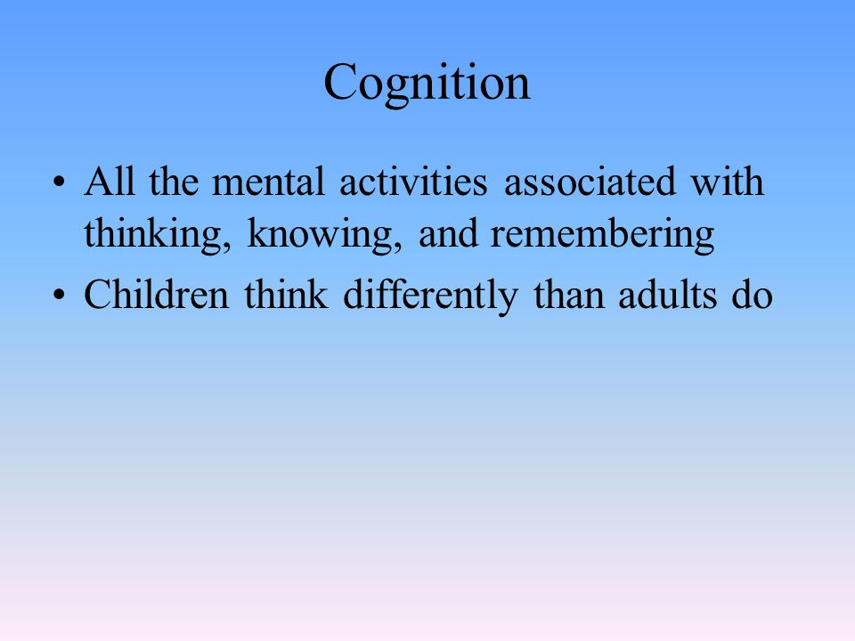 Jean Piaget (pee-ah-ZHAY) Developmental psychologist who introduced a stage theory of cognitive development Proposed a theory consisting of four stages of cognitive development