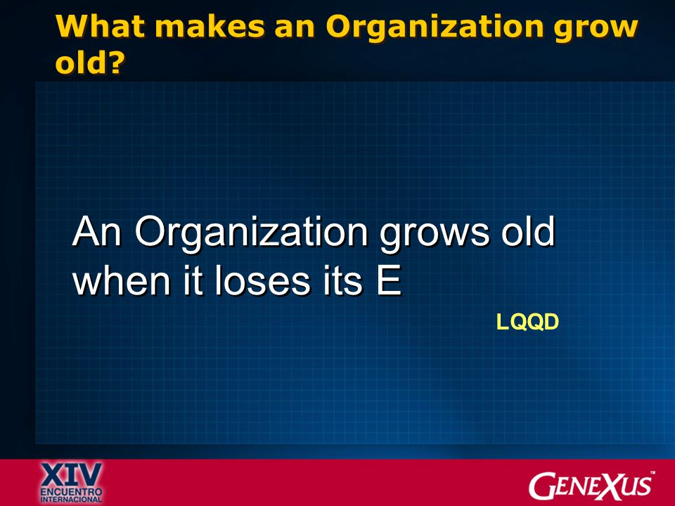 What makes an Organization grow old An Organization grows old when it loses its E LQQD