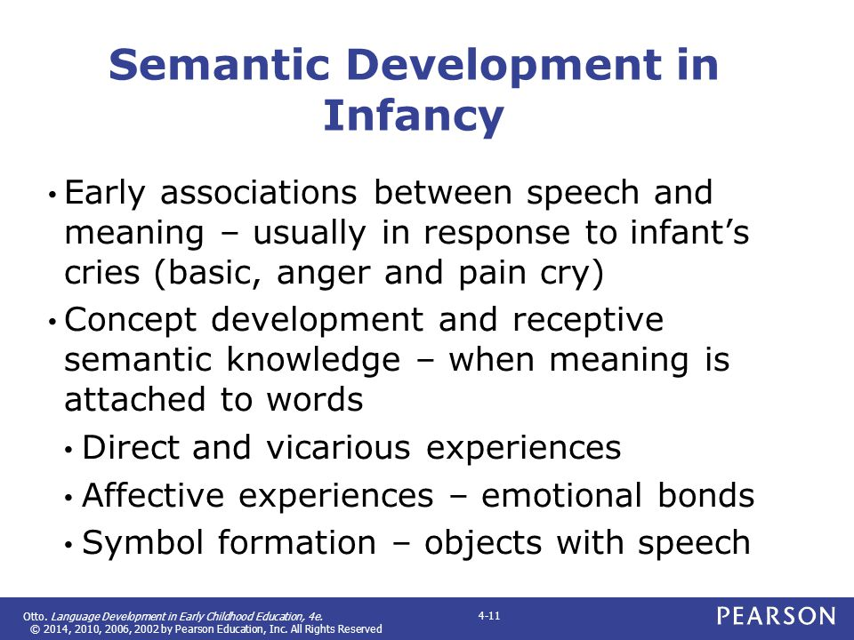 Otto. Language Development in Early Childhood Education, 4e. © 2014, 2010, 2006, 2002 by Pearson Education, Inc. All Rights Reserved 4-11 Semantic Dev