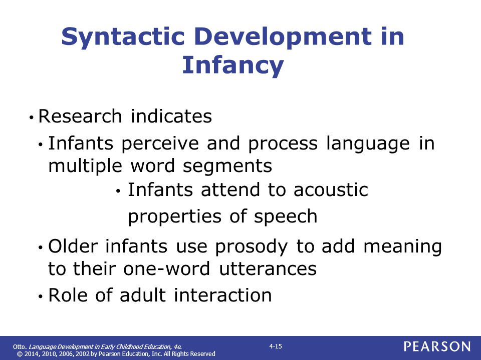 Otto. Language Development in Early Childhood Education, 4e. © 2014, 2010, 2006, 2002 by Pearson Education, Inc. All Rights Reserved 4-15 Syntactic De
