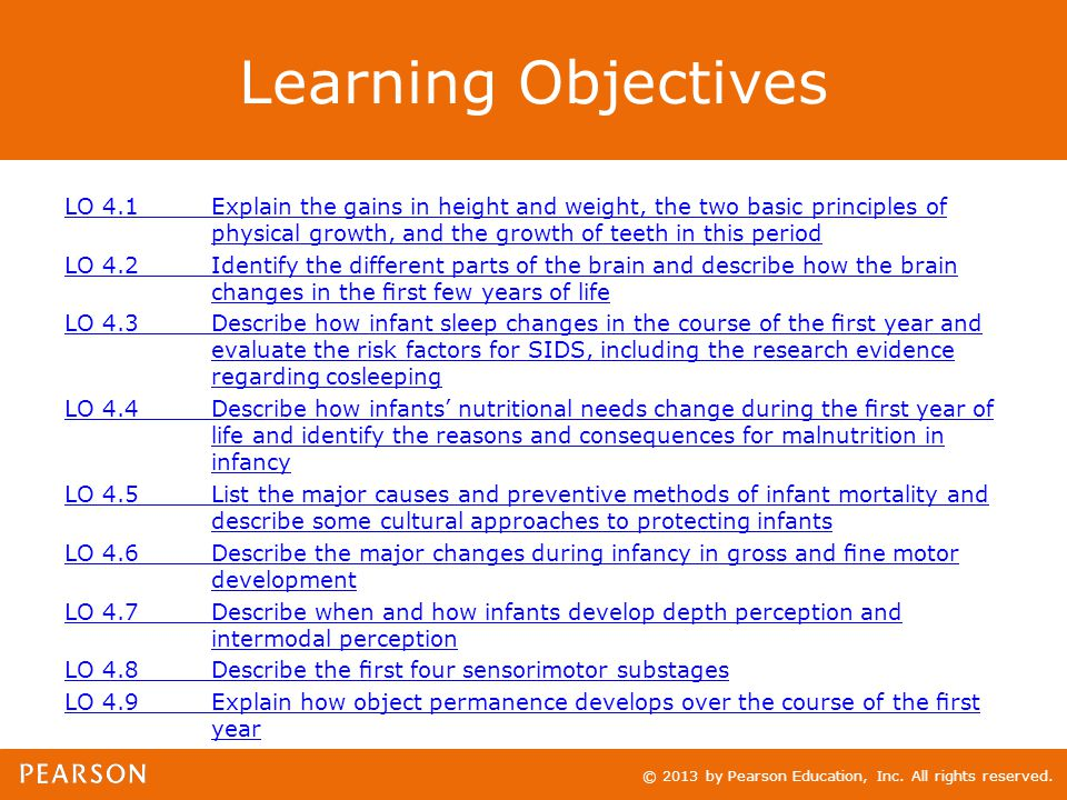 © 2013 by Pearson Education, Inc. All rights reserved. Learning Objectives LO 4.1Explain the gains in height and weight, the two basic principles of p