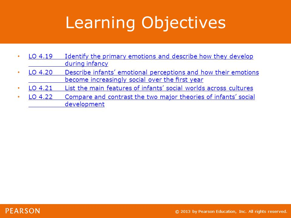 © 2013 by Pearson Education, Inc. All rights reserved. Learning Objectives LO 4.19Identify the primary emotions and describe how they develop during i