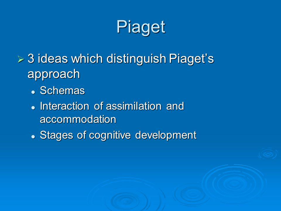 Piaget  3 ideas which distinguish Piaget's approach Schemas Schemas Interaction of assimilation and accommodation Interaction of assimilation and acc