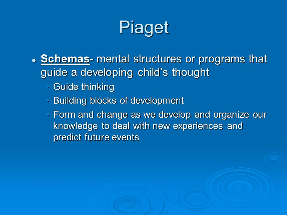 Piaget Schemas- mental structures or programs that guide a developing child's thought Schemas- mental structures or programs that guide a developing c