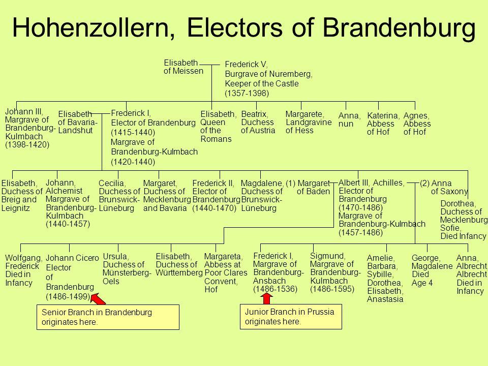 Hohenzollern, Electors of Brandenburg Johann Cicero Elector of Brandenburg (1486-1499) (1) Margaret of Baden Frederick I, Elector of Brandenburg (1415