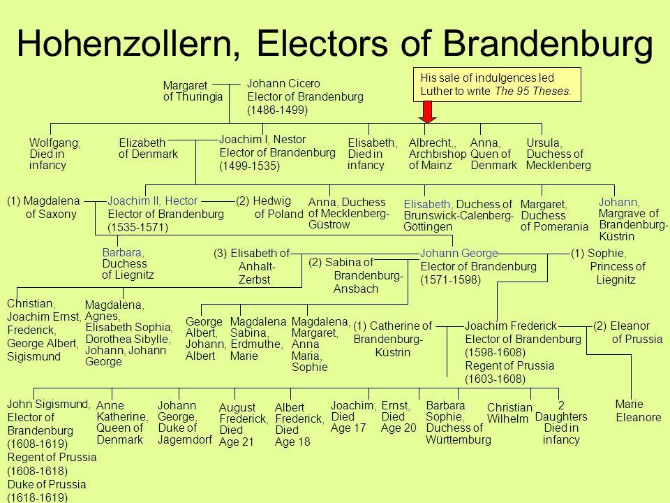 Hohenzollern, Electors of Brandenburg John Sigismund, Elector of Brandenburg (1608-1619) Regent of Prussia (1608-1618) Duke of Prussia (1618-1619) (1)