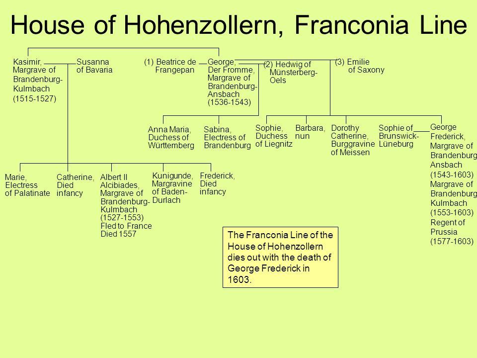House of Hohenzollern, Franconia Line Kasimir, Margrave of Brandenburg- Kulmbach (1515-1527) George, Der Fromme, Margrave of Brandenburg- Ansbach (153