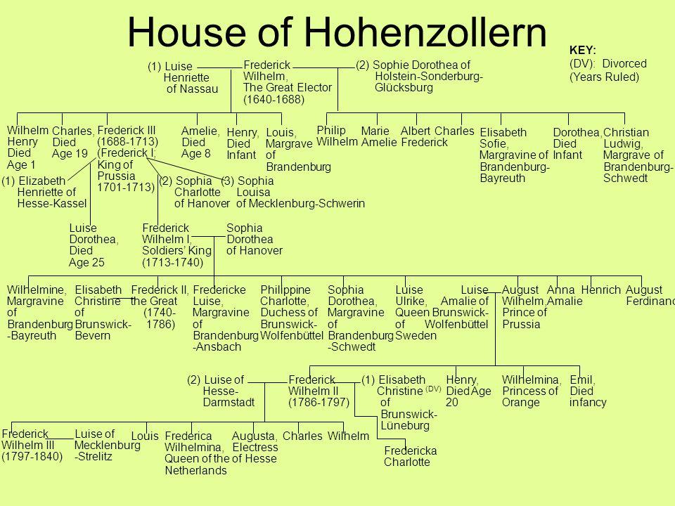 House of Hohenzollern Frederick Wilhelm, The Great Elector (1640-1688) (1) Luise Henriette of Nassau (2) Sophie Dorothea of Holstein-Sonderburg- Glück