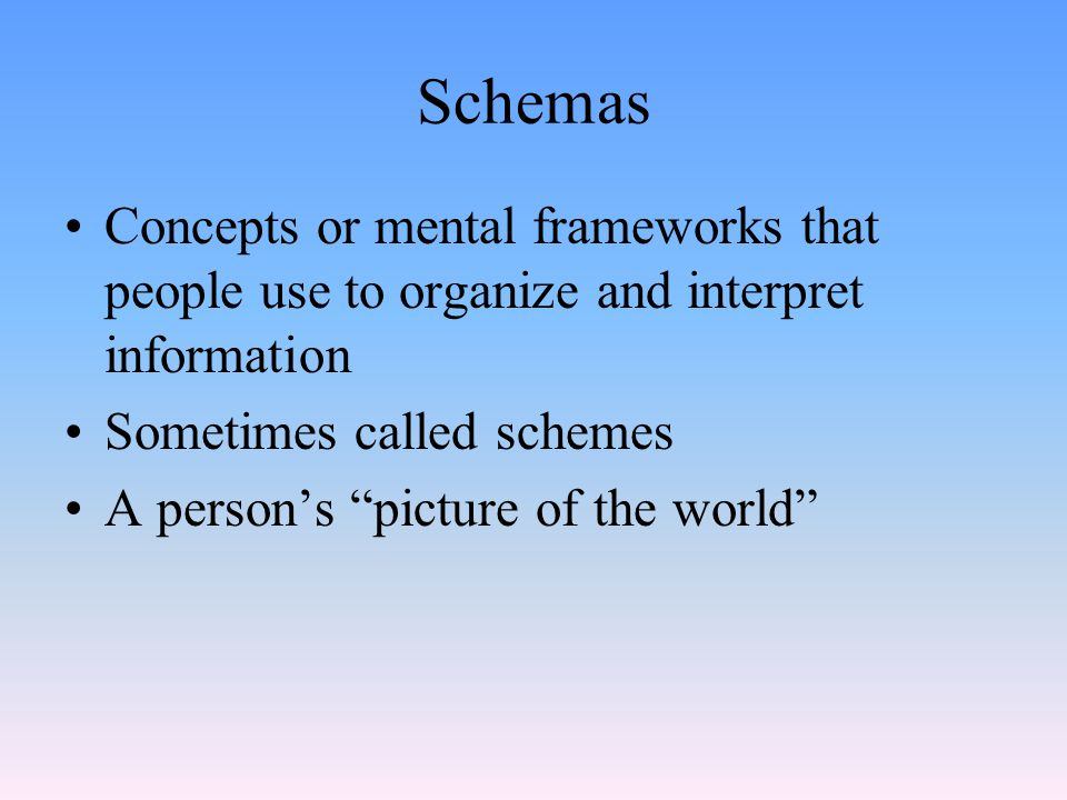 """Schemas Concepts or mental frameworks that people use to organize and interpret information Sometimes called schemes A person's """"picture of the world"""""""