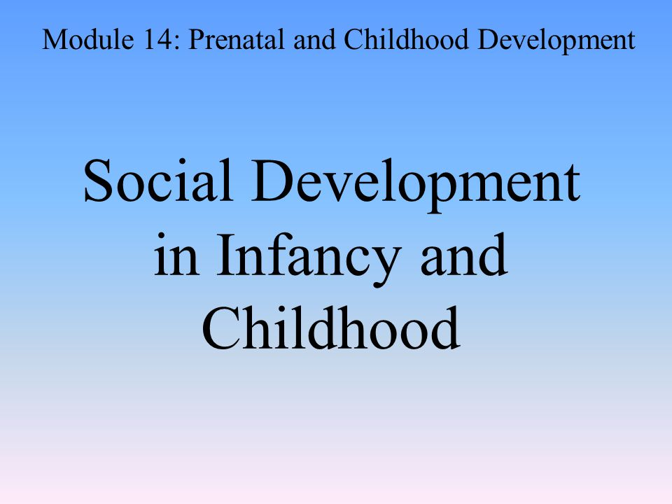 Social Development in Infancy and Childhood Module 14: Prenatal and Childhood Development