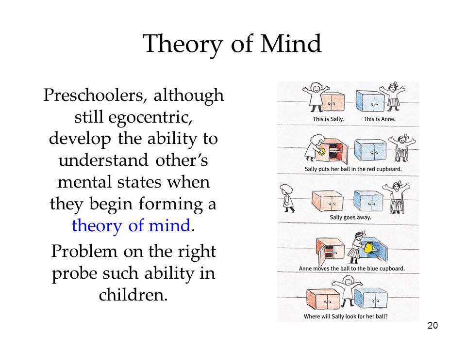 20 Theory of Mind Preschoolers, although still egocentric, develop the ability to understand other's mental states when they begin forming a theory of mind.
