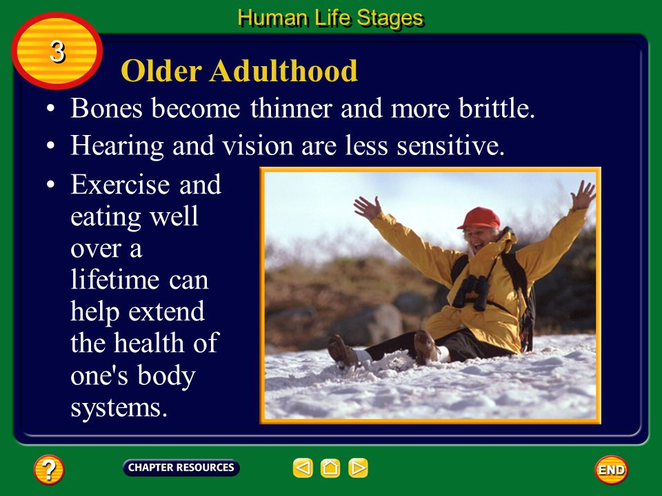 Older Adulthood People over the age of 60 may experience an overall decline in their physical body systems.