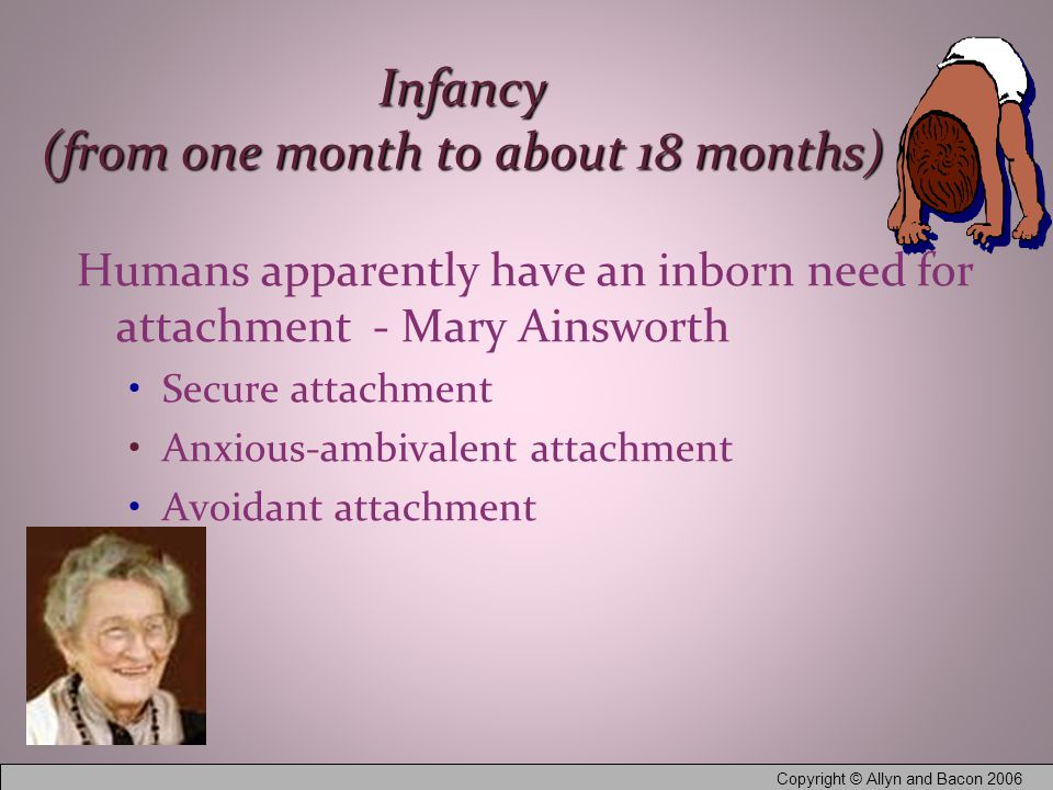 Copyright © Allyn and Bacon 2006 Infancy (from one month to about 18 months) Humans apparently have an inborn need for attachment - Mary Ainsworth Secure attachment Anxious-ambivalent attachment Avoidant attachment