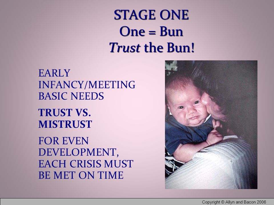 Copyright © Allyn and Bacon 2006 STAGE ONE One = Bun Trust the Bun.
