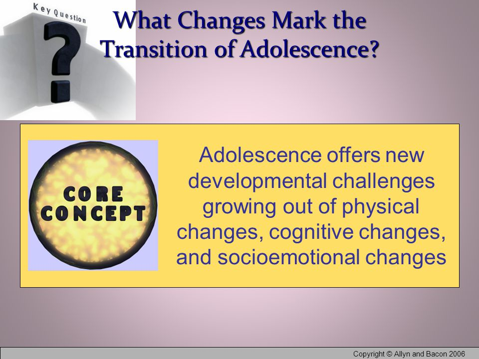 Copyright © Allyn and Bacon 2006 What Changes Mark the Transition of Adolescence.