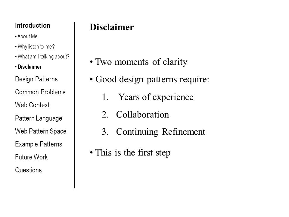 Design Patterns According to Christopher Alexander: Each pattern describes a problem which occurs over and over again in our environment, and then describes the core of the solution to that problem, in such a way that you can use this solution a million times over, without ever doing it the same way twice Introduction Design Patterns What are they.