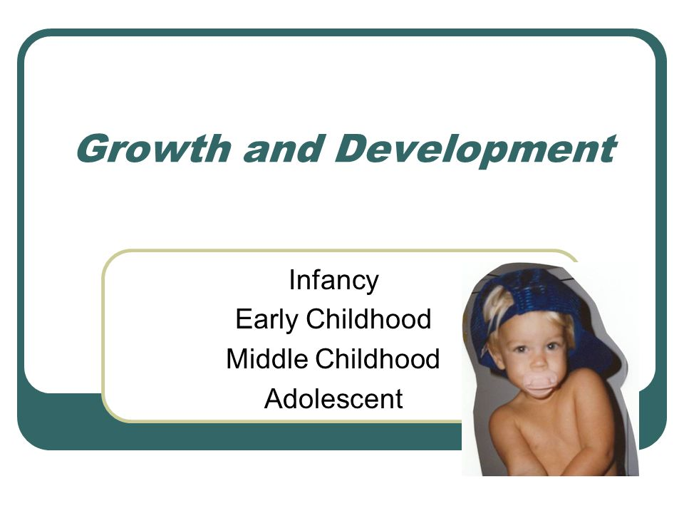 Growth and Development Infancy Early Childhood Middle Childhood Adolescent