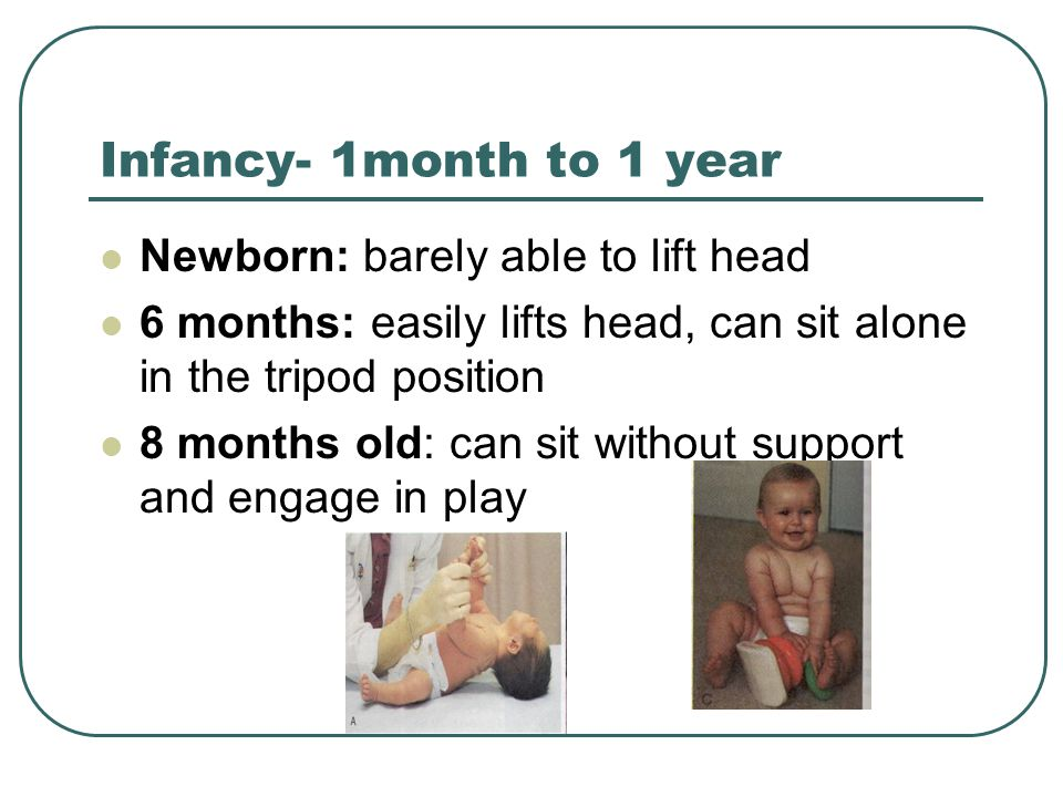 Infancy- 1month to 1 year Newborn: barely able to lift head 6 months: easily lifts head, can sit alone in the tripod position 8 months old: can sit wi