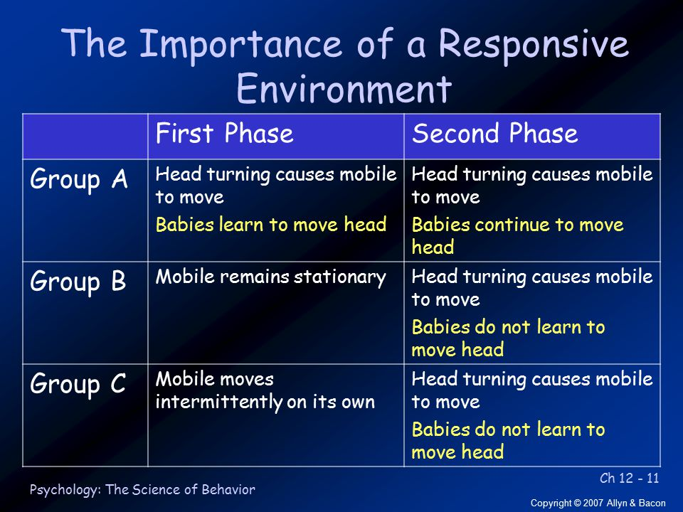 Ch 12 - 11 Copyright © 2007 Allyn & Bacon Psychology: The Science of Behavior The Importance of a Responsive Environment First PhaseSecond Phase Group A Head turning causes mobile to move Babies learn to move head Head turning causes mobile to move Babies continue to move head Group B Mobile remains stationaryHead turning causes mobile to move Babies do not learn to move head Group C Mobile moves intermittently on its own Head turning causes mobile to move Babies do not learn to move head