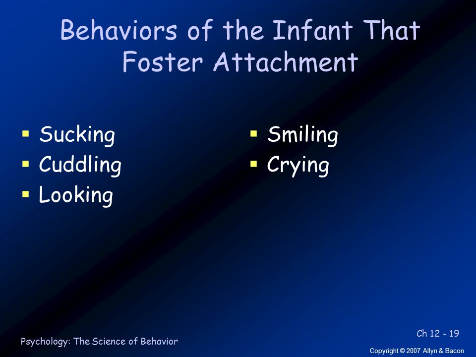 Ch 12 - 19 Copyright © 2007 Allyn & Bacon Psychology: The Science of Behavior Behaviors of the Infant That Foster Attachment  Sucking  Cuddling  Looking  Smiling  Crying